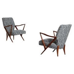 Giuseppe Scapinelli Couple of Armchairs in Walnut and Fabric, 1955