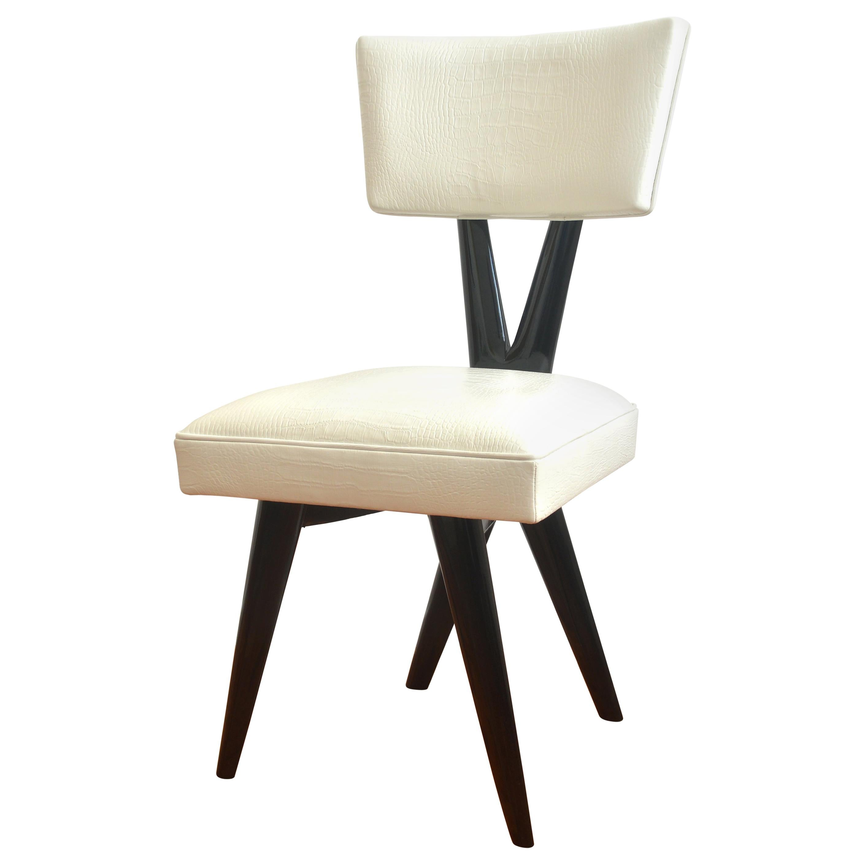 Giuseppe Scapinelli Ebonized Dining Chair Made in the 1950's