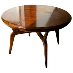 Giuseppe Scapinelli, Extendible Round Dining Table Made in Solid Caviuna Wood