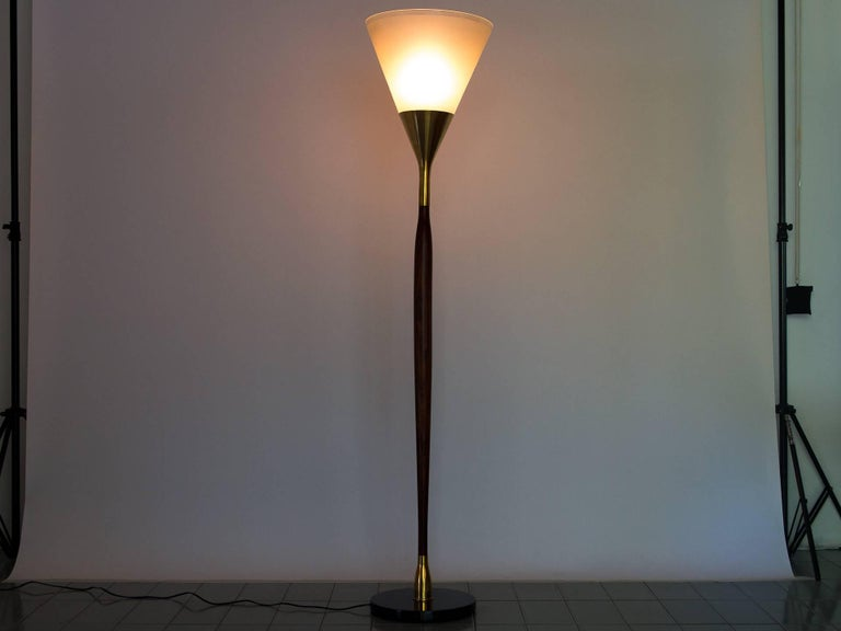 Mid-Century Modern 1950s Floor Lamp by G. Scapinelli in Rosewood, Marble, Brass and Crystal, Brazil For Sale