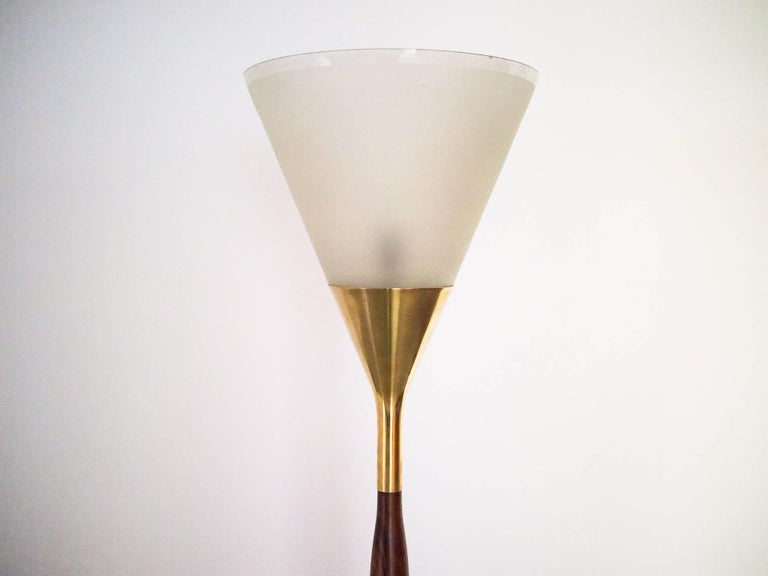Brazilian 1950s Floor Lamp by G. Scapinelli in Rosewood, Marble, Brass and Crystal, Brazil For Sale
