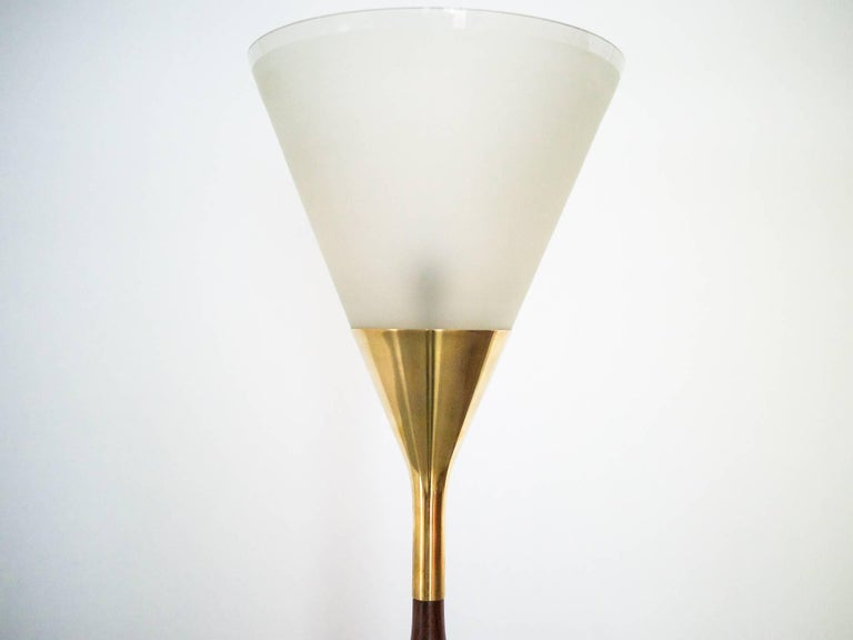 1950s Floor Lamp by G. Scapinelli in Rosewood, Marble, Brass and Crystal, Brazil For Sale 2