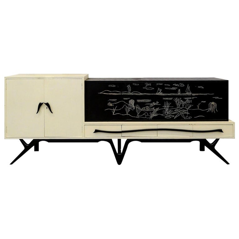 Giuseppe Scapinelli Large Buffet Cabinet, circa 1960s For Sale