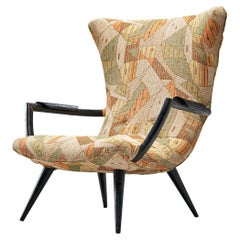 Giuseppe Scapinelli Lounge Chair in Black Wood and Patterned Upholstery