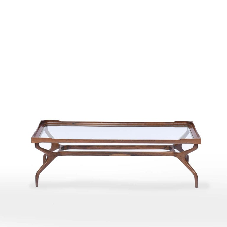 Giuseppe Scapinelli midcentury Brazilian center table in caviúna wood, 1950s  Giuseppe Scapinelli's personal preference for his designs, the Caviúna Brazilian wood was widely used in his furniture. This coffee table has been carefully constructed
