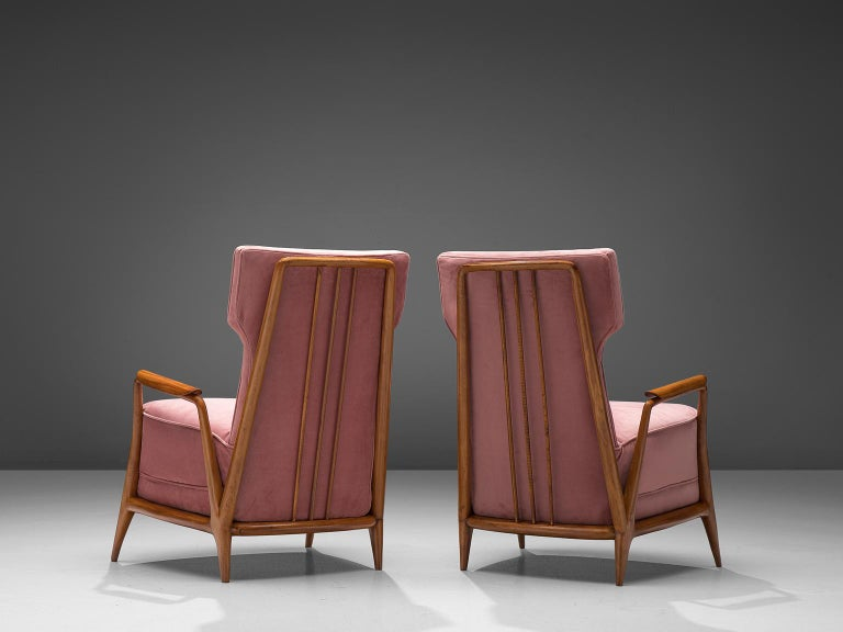 Mid-Century Modern Giuseppe Scapinelli Pair of High Back Chairs