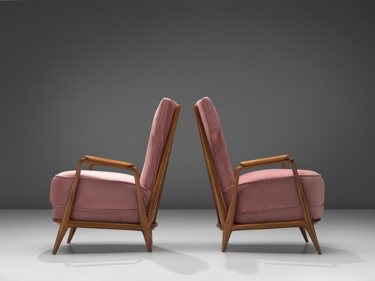 Brazilian Giuseppe Scapinelli Pair of High Back Chairs