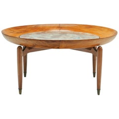 Giuseppe Scapinelli Round Coffee Table in Caviuna Wood and Marble, Brazil, 1960s