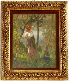 Mother and Child In An Orchard