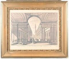 "18th Century Engraving by Giuseppe Locchi and Giuseppe Vasi ""Veduta degli ufizj"""