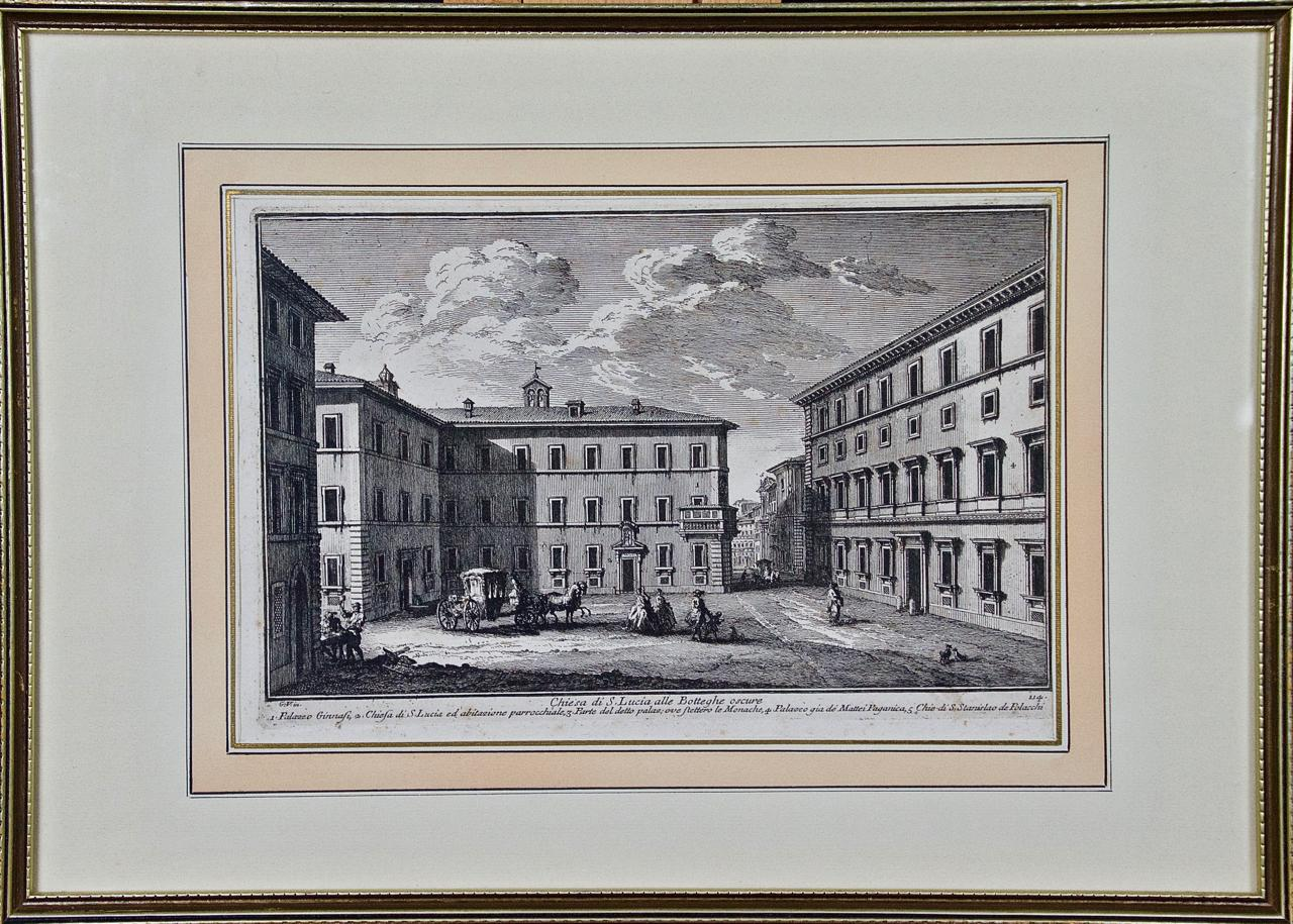 """18th Century Etching of """"Chiesa di S. Lucia"""" in Rome by Giuseppe Vasi"""