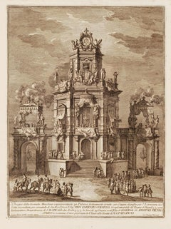 Artificial Fire Machine - Original Etching by Giuseppe Vasi - 1776