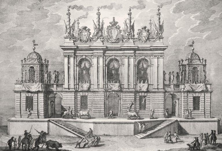 Caccia de' Tori - Original Etching by Giuseppe Vasi - 1775 For Sale 1