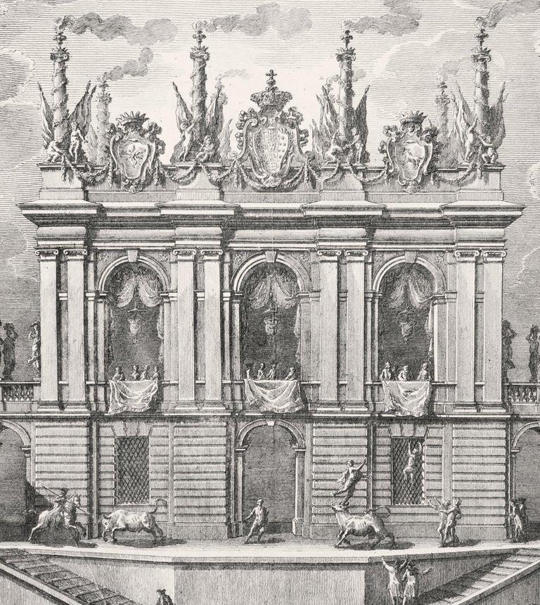 Caccia de' Tori - Original Etching by Giuseppe Vasi - 1775 For Sale 2