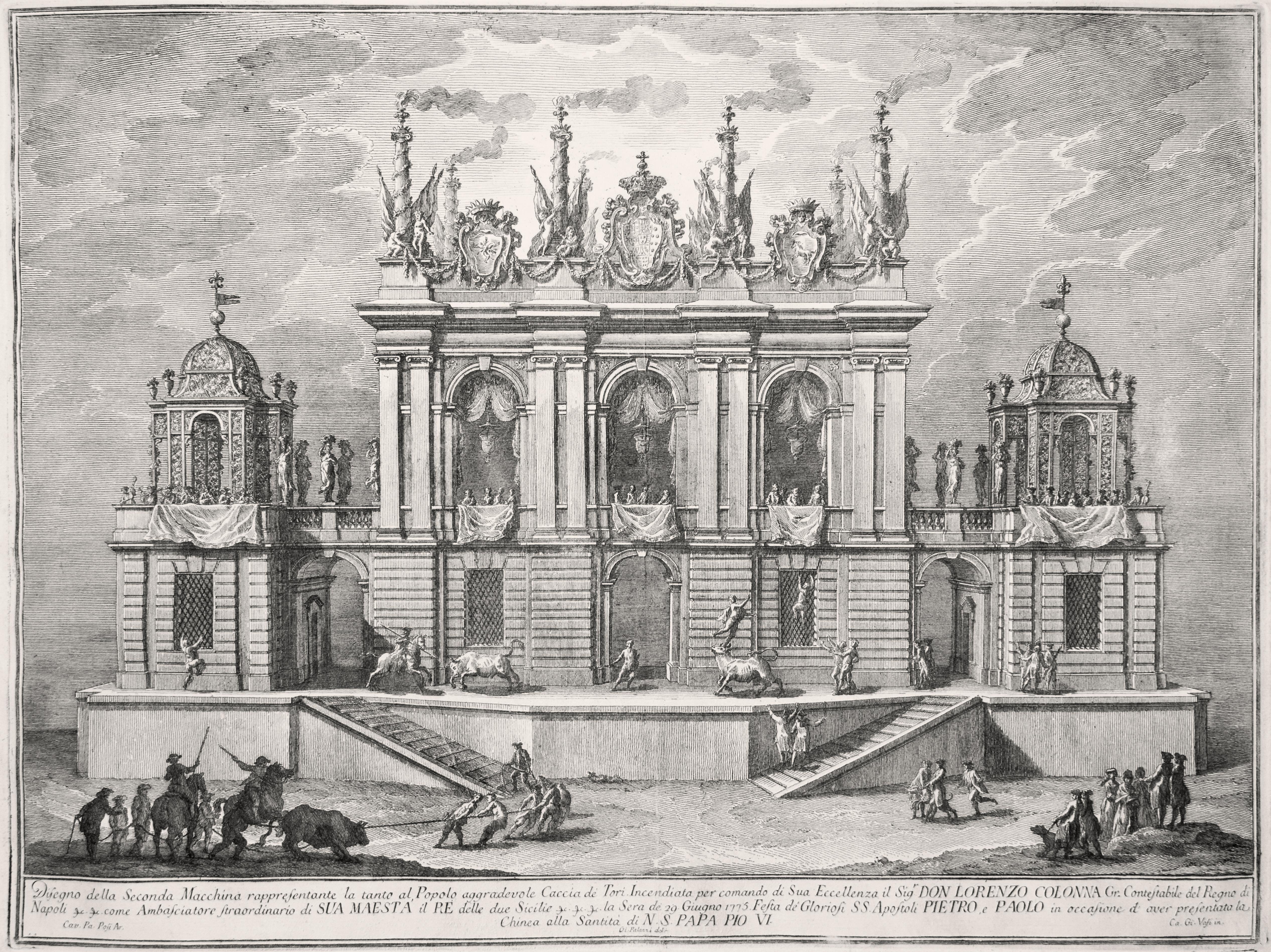 Caccia de' Tori - Original Etching by Giuseppe Vasi - 1775