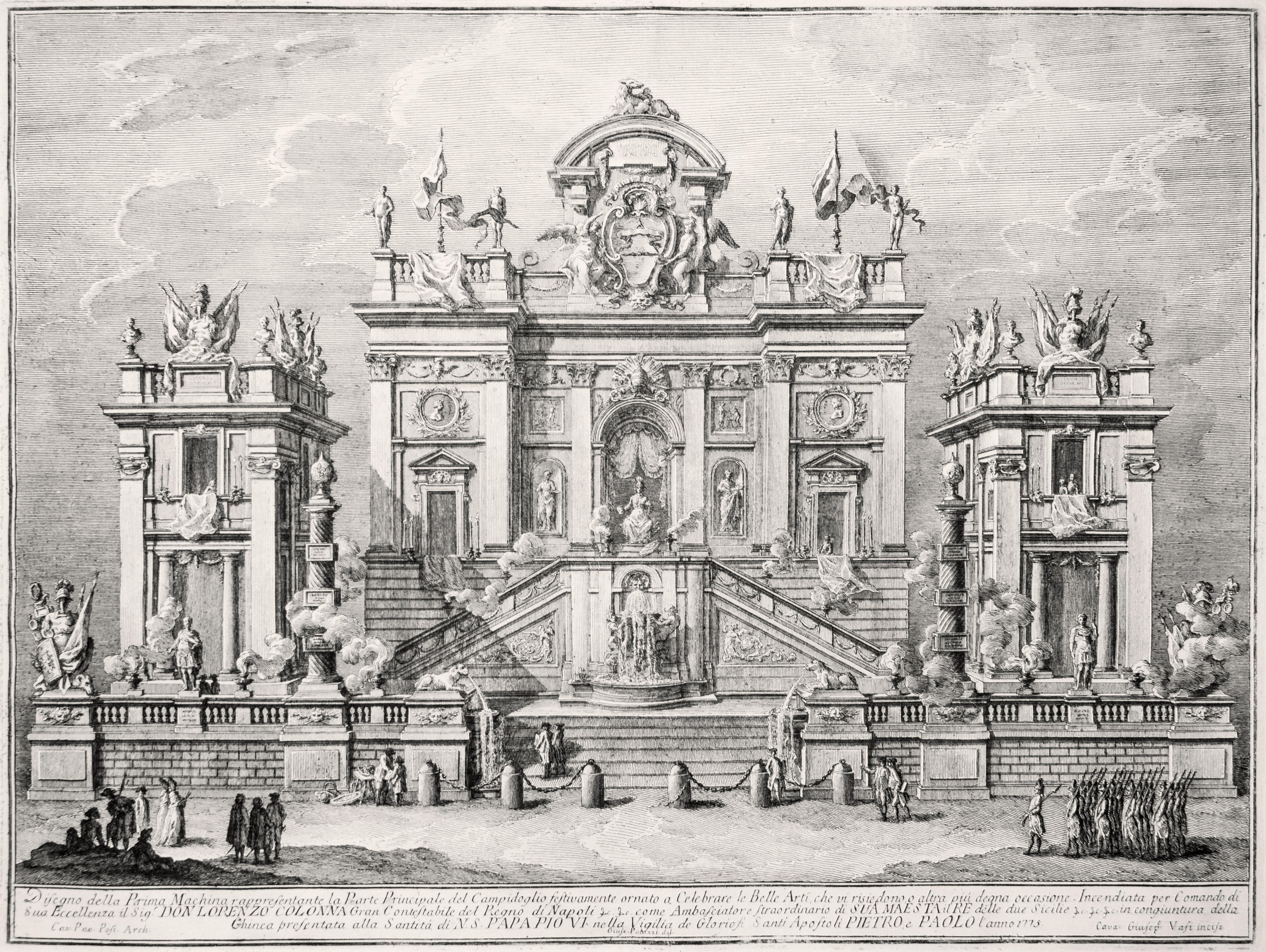 Campidoglio Festivamente Ornato - Original Etching by Giuseppe Vasi - 1775