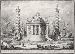 Il tempio di Nettuno - Original Etching by Giuseppe Vasi - 1760