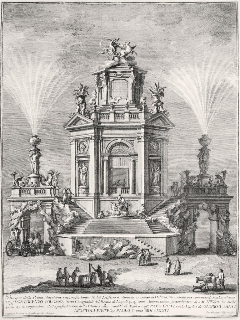 """English Title: """"Noble Pleasant Building""""  Beautiful Proof, showing the apparatus for firework designed and built in occasion of the Feast of S. Peter and Paolo (1776) by Giuseppe Palazzi. This wonderful etching, representing a noble pleasant"""