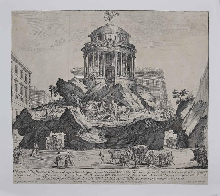 The Temple of Glory is an original etching artwork realized by Giuseppe Vasi.  Good conditions.  The artwork represents the artificial Fire Machine and the temple of glory, with the impressive scenery which is narrated in the description on the