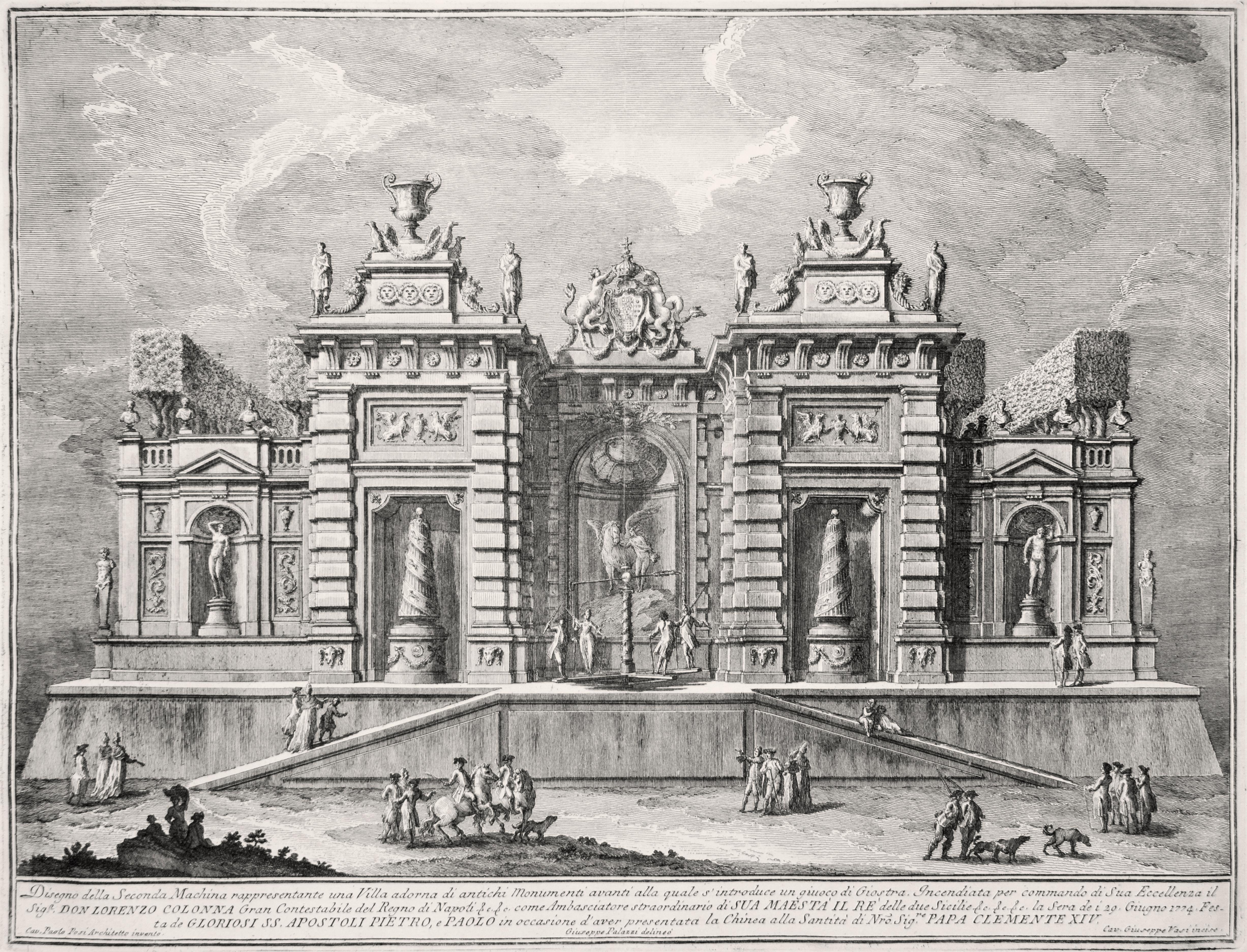 Villa antica con scena di Giostra  - Original Etching by Giuseppe Vasi - 1774