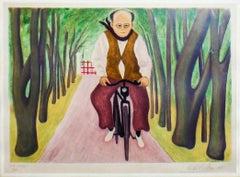 Cyclist - Original Etching by Giuseppe Viviani - 1955
