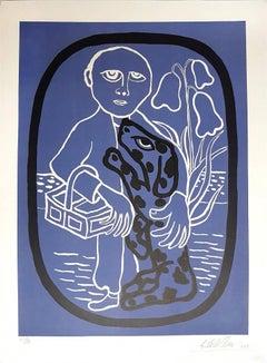 Man with dog - Original Lithograph by Giuseppe Viviani - 1961