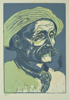 Portrait of Old Man - Original Woodcut by Giuseppe Viviani - 1927