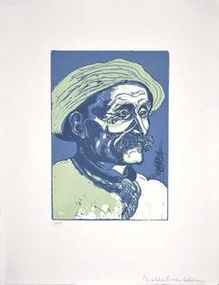 Portrait of Old Man - Original Woodcut by Giuseppe Viviani - 1927