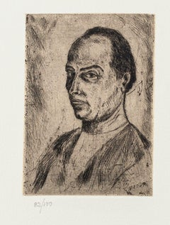 Portrait - Original Etching on Paper by Giuseppe Viviani - 20th Century
