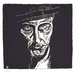 Self-Portrait - Original Woodcut by Giuseppe Viviani - 1920s