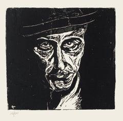 Self Portrait - Original Woodcut by Giuseppe Viviani - 1925