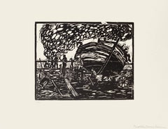 Workers on the Seaside - Original Woodcut by Giuseppe Viviani - 1926