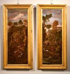 Zais Landscape Couple Paint Oil on canvas Old master 18th Cdntury Italy Venice