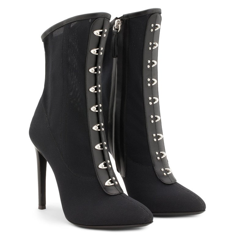 Giuseppe Zanott NEW Black Mesh Leather Silver Ankle Boots Booties in Box In New Condition For Sale In Chicago, IL