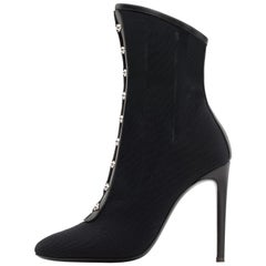 Giuseppe Zanott NEW Black Mesh Leather Silver Ankle Boots Booties in Box