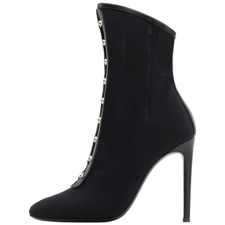 Giuseppe Zanott NEW Black Mesh Leather Silver Ankle Boots Booties in Box For Sale