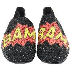 GIUSEPPE ZANOTTI 2019 Bam crystal embellished pop art black suede loafer EU44