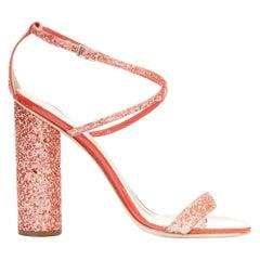 GIUSEPPE ZANOTTI 2019 Tara red glitter square toe chunky heel sandals EU39