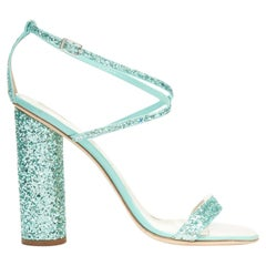 GIUSEPPE ZANOTTI 2019 Tara sky blue glitter square toe chunky heel sandals EU39