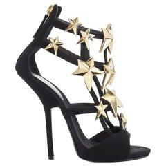 GIUSEPPE ZANOTTI Alien black suede leather gold star strappy sandals heels EU38