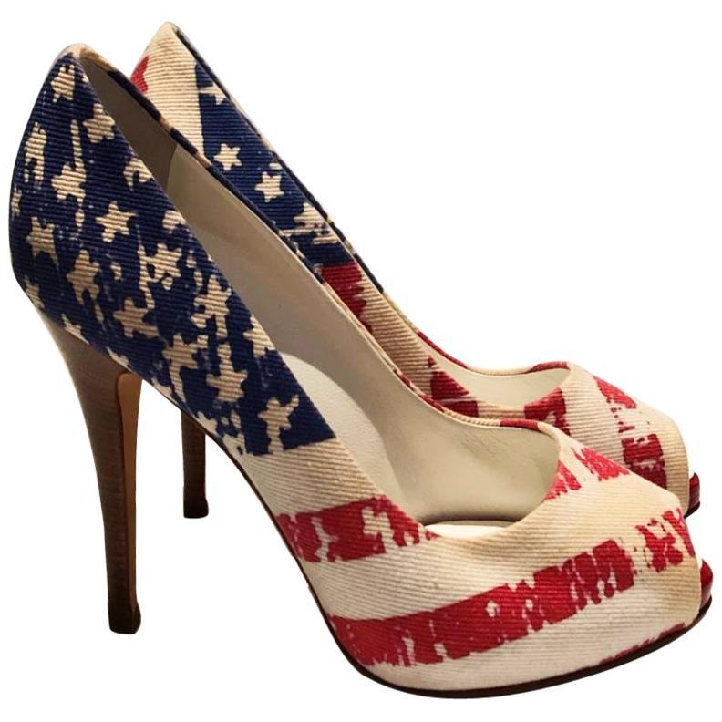 2000s Giuseppe Zanotti USA Flag Platform Heels Pumps