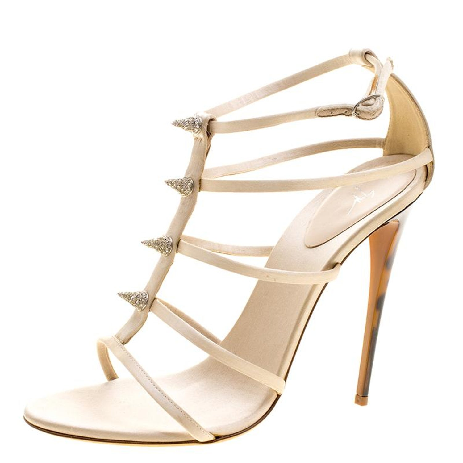 75c79d6dc3167 Giuseppe Zanotti Beige Crystal Embellished Satin Tortoise Heel Strappy  Sandals S For Sale at 1stdibs