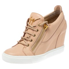 Giuseppe Zanotti Beige Leather Low Top Wedge Sneakers Size 41