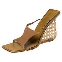 Giuseppe Zanotti Beige Leather Wedge Sandals Size 39