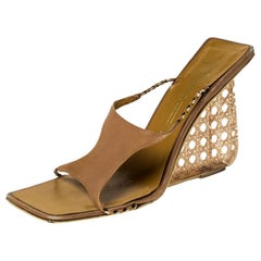 Giuseppe Zanotti Beige Leather Wedge Sandals Size 39