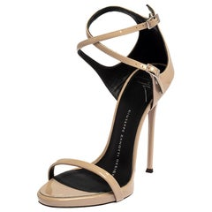 Giuseppe Zanotti Beige Patent Leather Open Toe Ankle Strap Sandals Size 35