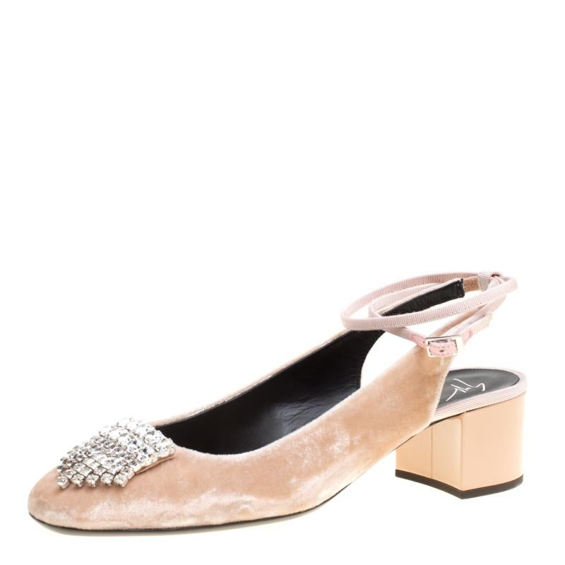 871d0185b61 New Giuseppe Zanotti Nude Crystal Beaded Double Platform Heels Pumps It. 38  For Sale at 1stdibs