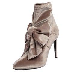 Giuseppe Zanotti Beige Velvet Bow Ankle Boots Size 37