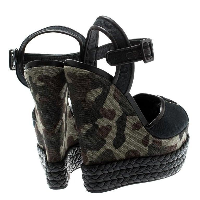 172e0f86fd9 Giuseppe Zanotti Black Canvas And Leather Camouflage Wedge Sandals ...