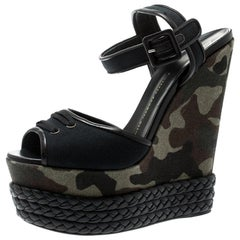 Giuseppe Zanotti Black Canvas And Leather Camouflage Wedge Sandals Size 40